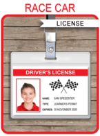 Race Car Drivers License Printable Template | Birthday Party Decorations and Favors | Editable & Printable ID Badge Template | INSTANT DOWNLOAD via SIMONEmadeit.com