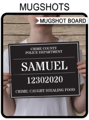 Printable Mugshot Sign Board - Photo Booth Prop - Mug Shot Board - Police Birthday Party, Murder Mystery, Cops & Robbers, Stag, Bachelor Party, Spy Party, CSI - INSTANT DOWNLOAD with Editable text via simonemadeit.com