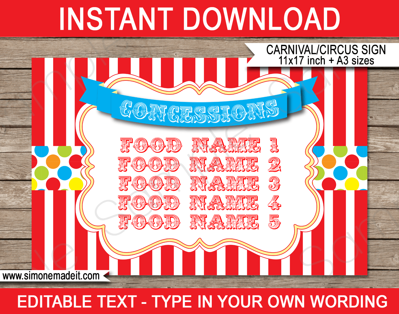 Printable Carnival Concessions Signs | Editable Text | Editable DIY Template | Circus Theme Party Decorations | $4.00 Instant Download via SIMONEmadeit.com