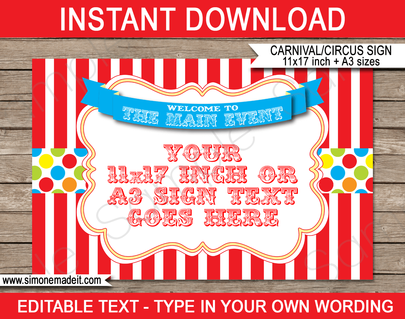 Printable Carnival Welcome Sign Template with Editable Text | Circus Theme Party Decorations | $4.00 Instant Download via SIMONEmadeit.com