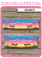 Coachella Themed Party Banner – 2x8ft + 841x2201cm – bright colors