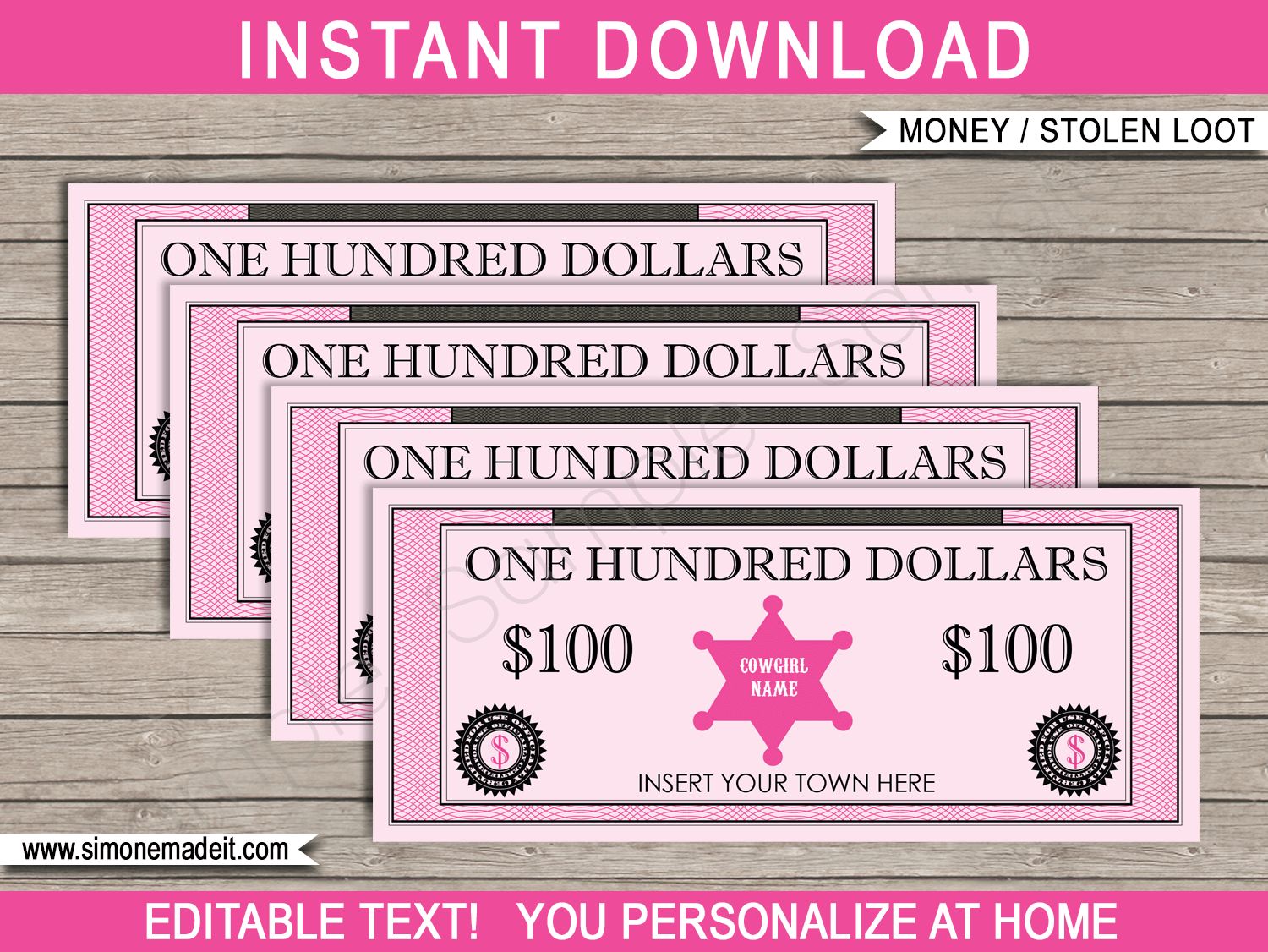 Printable Cowgirl Stolen Loot | Pretend Play Money Bucks Bank Notes | Sheriff Badges | Printable Party Games | Cowgirl Themed Birthday Party | Editable DIY Template | Instant Download via SIMONEmadeit.com