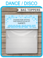 Dance Party Favor Bag Toppers template – blue