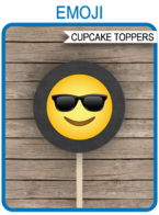 Printable Emoji Birthday Cupcake Toppers Template | Emoji Party Theme for boys | 2 inch | Gift Tags | DIY Editable & Printable Template | INSTANT DOWNLOAD via simonemadeit.com