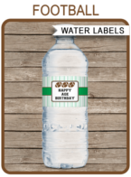 Football Party Water Bottle Labels template