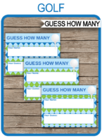 Golf Party Guess How Many Game Printable Template | Birthday Party Games | DIY Editable Text | $3.00 INSTANT DOWNLOAD via simonemadeit.com