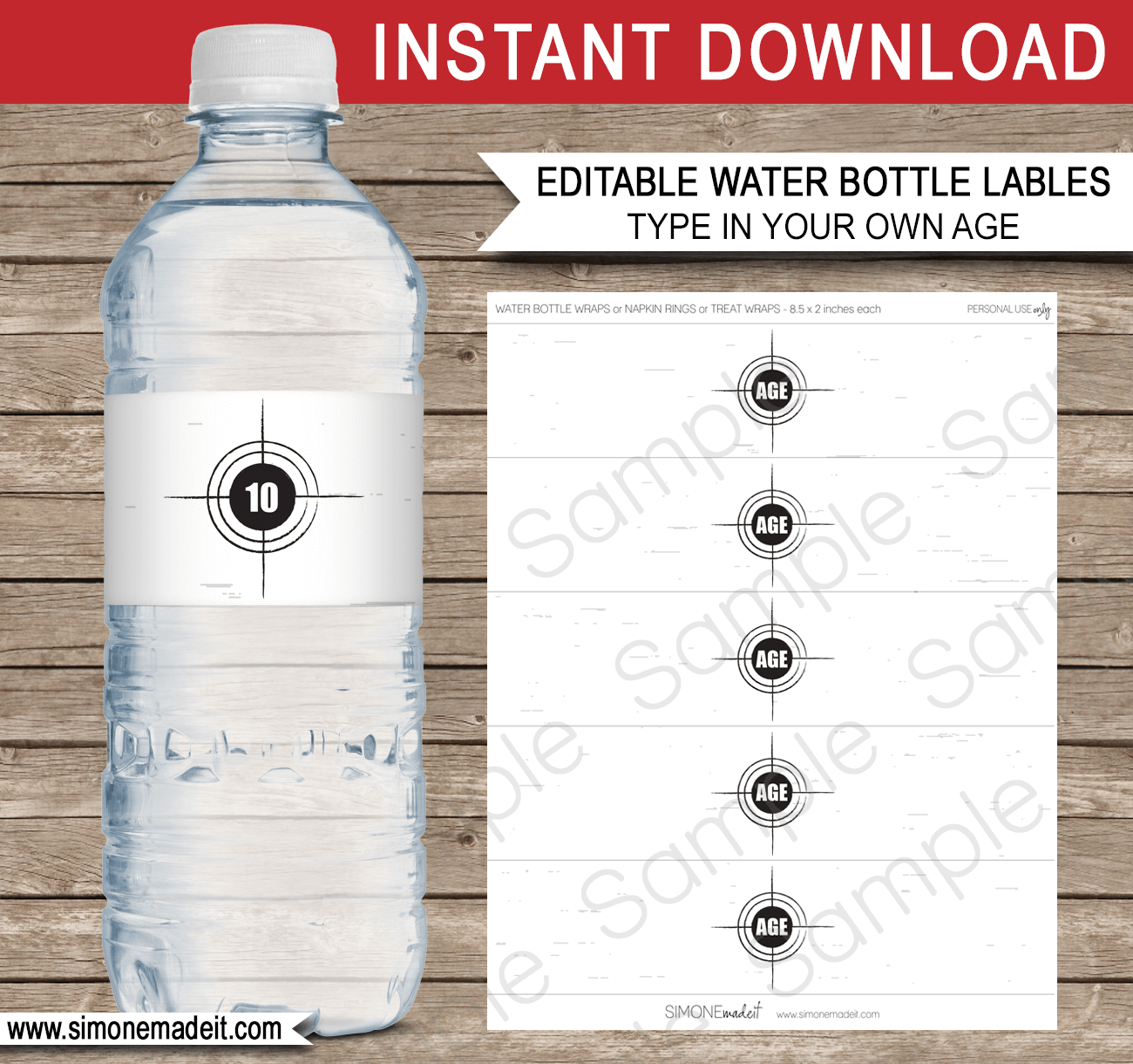 Printable Laser Tag Party Water Bottle Labels | Editable DIY Template | $3.00 INSTANT DOWNLOAD via SIMONEmadeit.com