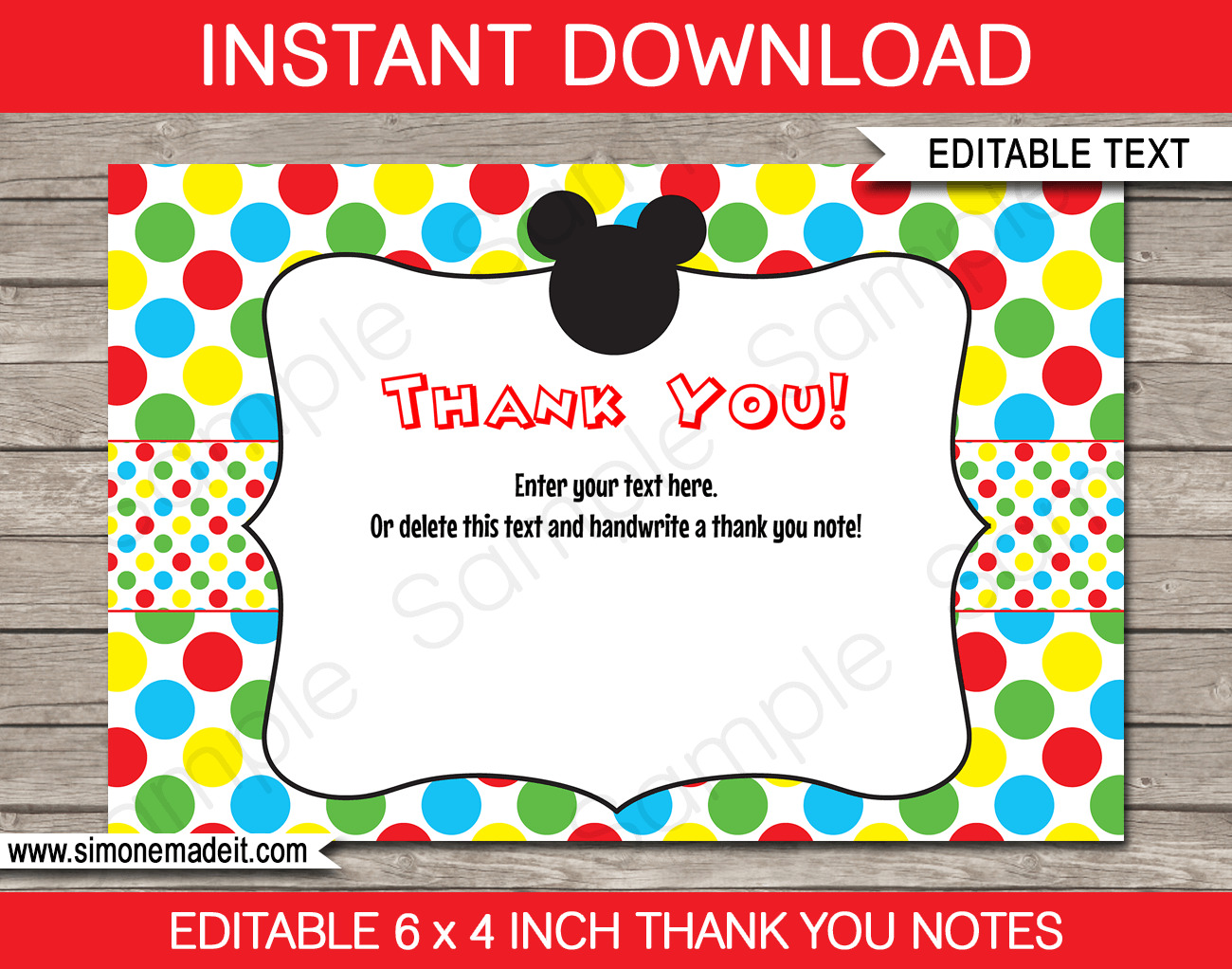 Printable Mickey Mouse Thank You Card Template - Favor Note Tags - Birthday Party theme - Editable Text - Instant Download via simonemadeit.com