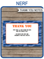 Printable Nerf Birthday Party Thank You Cards Template - Nerf Wars Theme - Editable Template - Instant Download via simonemadeit.com
