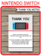 Nintendo Switch Party Thank You Cards template