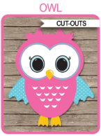 Owl Party Cutouts Printable Party Decoration templates | Birthday Party or Baby Shower | via SIMONEmadeit.com