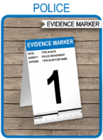 Printable Police Evidence Markers Template | Police Theme Birthday Party Decorations | Editable CSI Crime Scene Printable | Instant Download via SIMONEmadeit.com