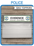 Police Party Favor Bag Toppers template – 6.5 inch wide