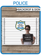 Police Party Mugshot Sign Board & Lineup Backdrop | Murder Mystery | Cops & Robbers, Law Enforcement, Police Theme Birthday Party Decorations | Printable DIY Template | Party Decorations | $4.50 Instant Download via SIMONEmadeit.com