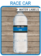 Editable & Printable Blue Race Car Theme Water Bottle Labels Template | Race Car Birthday Party Template | Napkin Wraps | Treat Wraps | INSTANT DOWNLOAD via simonemadeit.com