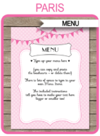 Printable Paris Birthday Party Menu Template | Paris Theme Decorations | INSTANT DOWNLOAD with Editable Text via simonemadeit.com