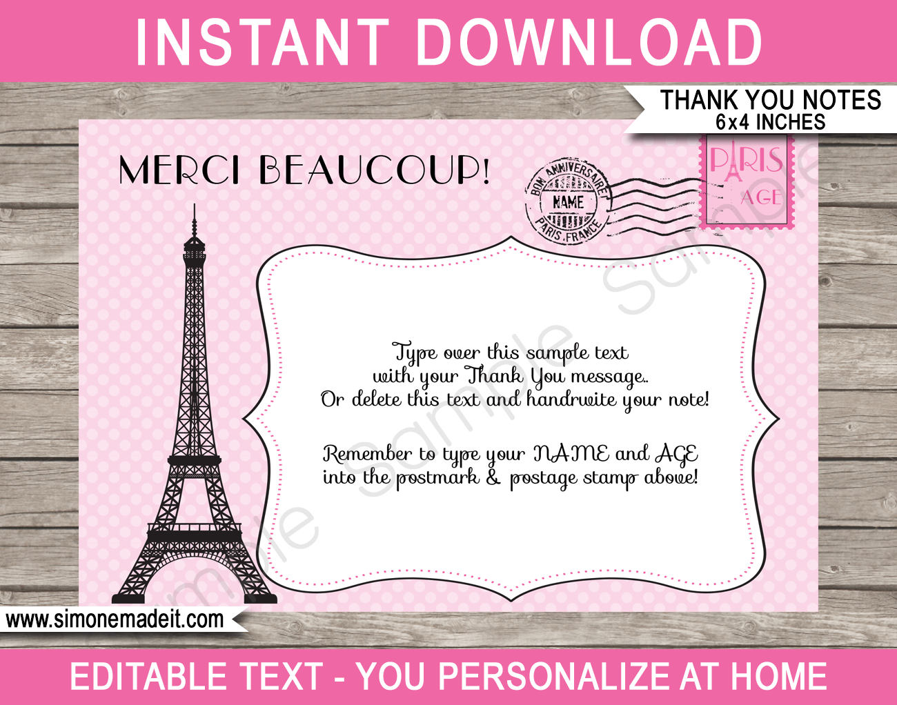 Printable Paris Birthday Party Thank You Cards Template - Favor Tags - Editable Text PDF - Instant Download via simonemadeit.com