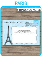 Printable Blue Paris Party Thank You Cards Template - Favor Tags - Editable Text PDF - Instant Download via simonemadeit.com