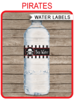 Printable Pirate Party Water Bottle Labels Template | Napkin Wraps | Treat Wraps | DIY Editable | INSTANT DOWNLOAD via simonemadeit.com