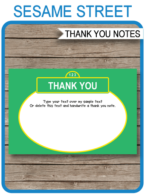 Printable Sesame Street Thank You Cards Template - Birthday Party Theme - Editable Text - Instant Download via simonemadeit.com