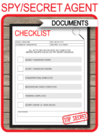 Spy Party Mission & Activities Checklist Templates – red