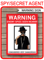 Printable Spy Party Wanted Poster Template | Warning Sign | Digitally insert your photo | DIY Secret Agent Birthday Party Decorations | Instant Download via simonemadeit.com #wantedposter