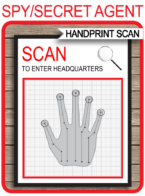 Spy Party Handprint Scanner Template – red