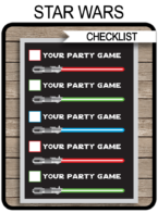 Star Wars Party Games Jedi Training Checklist Printable Template for kids | Birthday Party Activities | DIY Editable Text | INSTANT DOWNLOAD via simonemadeit.com