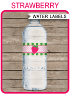 Strawberry Shortcake Party Water Bottle Labels template