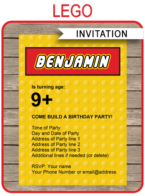 Lego Birthday Party Invitations Template | Editable DIY Theme Template | INSTANT DOWNLOAD $7.50 via SIMONEmadeit.com