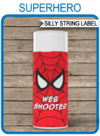 Superhero Web Shooter Labels