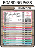 Printable Boarding Pass Invitation Template | Watercolors | Printable Fake Plane Ticket Invite | Destination, Event, Baby Shower, Bridal Shower, Birthday Party, Bachelorette, Bachelor, Stag, Wedding, Travel | INSTANT DOWNLOAD with editable text | simonemadeit.com